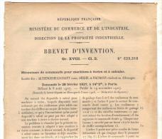 Office De La Propriété Industrielle Mécanisme Machine à écrire Et à Calculer Seidel Nauman 1927 - Machines