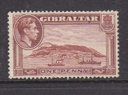 GIBRALTAR: GEORGE VI, 1940,, 1d Brown, Perf 13 1/2, Sideways Watermark, No Gum No Cancel - Gibraltar