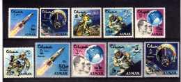 """AJMAN   MNH  """" ESPACE - SURCHARGES / OVERPR. NEW  VALEURS  """" -  10 VAL. - Espace"""