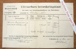 "Gemeente Merelbeke ""Uitvoerbare Invorderingstaat"" 1931 - Belgique"
