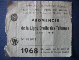 REIMS 51 - Billet D'Entrée Du Grand Prix Automobile 1968 (Epreuve Reportée) 3 Scan - Tickets - Entradas