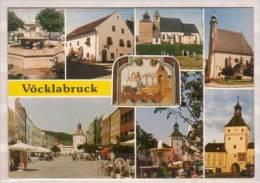 Vöcklabruck , Stadtbrunnen - Heimathaus - Schöndorfer Kirche - Pfarrk. St. Ullrich - Stadtplatz , Oberer - Unt. Torturm - Vöcklabruck