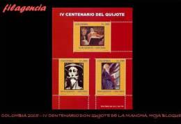 AMERICA. COLOMBIA MINT. 2005 IV CENTENARIO DE DON QUIJOTE DE LA MANCHA. HOJA BLOQUE - Colombia