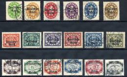DEUTSCHES REICH 1920 Overprints On Bavaria Complete Set Of 18 Used.  Michel 34-51 - Officials