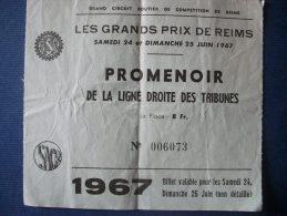 REIMS 51 - Billet D'Entrée Grand Prix Automobile 1967 (2 Scan) - Tickets - Entradas