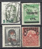 Chile Chili Lot Gestempelt. 4 X Überdruck, SURCHARGED, Surchargé, Ua Mi 62 361 462, N° 510 Série Courante Diego Portales - Chile