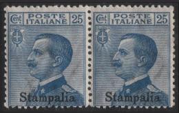 Italia - Isole Egeo: Stampalia - 25 C. Azzurro (coppia Orizzontale) - 1912 - Egée (Stampalia)