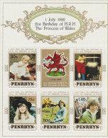 Penrhyn-1982 21st Birthday Princess Diane Sheetlet - Penrhyn