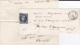 1851 - 25c CERES Sur ENVELOPPE + LETTRE De LAVARDAC (LOT ET GARONNE) Pour Le GERS - IND 14 - Postmark Collection (Covers)