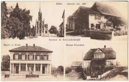 S12/ALS - CPA BALLERSDORF - 4 Vues - Eglise - Epicerie Abt - Maison Forestière - Mairie Ecole - Autres Communes