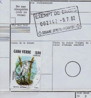 Cap Vert  S.Tiago RARE RARE Bulletin D´expédition Colis Douane Geneve EXEMPT DE DROITS Bird Mail Courrier Correos Gc1484 - Birds