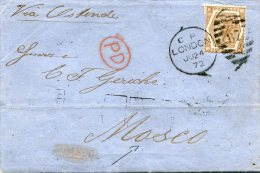 GRANDE-BRETAGNE LETTRE DEPART LONDON JU 24 72 VIA OSTENDE DESTINATION MOSCOU - 1840-1901 (Viktoria)