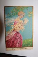 Belle Carte  Joyeuses Pâques -  Illustrateur - Thème : Jeune Femme - Pascua