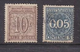 ITALY: REVENUE: 1938 Exchange Fee, 10 Lire, Used (also 1 X 5c) - Steuermarken