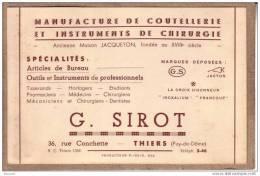 PUY DE DÔME - CARTE DE VISITE - THIERS - MANUFACTURE COUTELLERIE ET CHIRURGIE - G. SIROT - 140 X 91 Mm - Visiting Cards