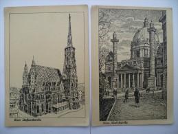 Autriche / Osterreich : Wien - Stefanskirche & Karlskirche - 2 CP D'après Dessin - Églises