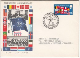 Great Britain Cover 1969, NATO N.A.T.O. Organization, Flag, British Forces, - Poststempel