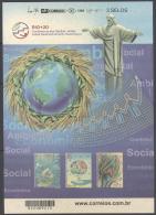 BRAZIL ,2012,MNH,RIO  SUMMIT, UN COFERENCE, SHARKS, EARTH, S/SHEET - Milieubescherming & Klimaat