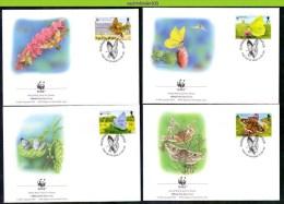 Nat215fb WWF FAUNA VLINDERS Blauwtje, Citroentje BUTTERFLIES SCHMETTERLINGE MARIPOSAS PAPILLONS GUERNSEY 1997 FDC´s - Mariposas
