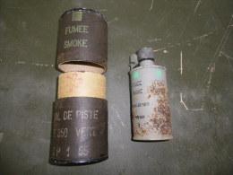 Grenade Fumigène Signal De Piste Verte Avec Son Conteneur Daté 55 (assez Rare) - Equipement