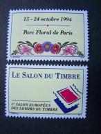 THEME VIGNETTES VIGNETTE PROVENANT DU BLOC FRANCE N°15 TIMBRE N°2849/2850 LE SALON DU TIMBRE 1993 - Commemorative Labels