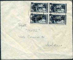 """1951 Trieste A, Lettera Per Milano Con Quartina Lire 5 """"Lavoro"""" - Trieste"""