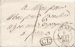 """LAC De SEURRE Du 6 JUIN 1831 [T 13] Pour Seurre - CL En Noir Et Taxe Locale """"1"""" Manuscrite - Marcofilia (sobres)"""