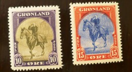 GROENLAND Chevaux, Chiens (Yvert N° 13/14) Neuf Sans Charniere ** MNH - Groenland