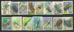 JAPON. Les Insectes Au Japon. 15 Beaux Timbres Oblitérés, Tous Differents - Japan