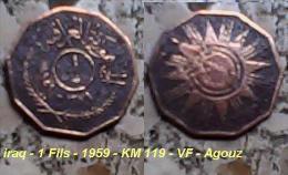 Iraq - 1 Fils - 1959 - KM 119 - VF - Agouz - Iraq
