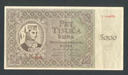 KROATIEN - CROATIA,  5000 Kuna 15.7. 1943 VF , WWII - NDH - USTASHA - Yugoslavia