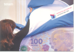 PRESIDENTA CRISTINA FERNANDEZ DE KIRCHNER - TELAM BANDERA ARGENTINA Y NUEVO BILLETE DE EVA PERON AÑO 2013 - Figuren