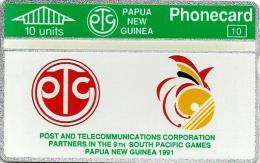 PAPUA NEW GUINEA 10 U SOUTH PACIFIC GAMES SPORT LOGO L & G PNG-02 MINT CV$35US 1ST ISSUE READ DESCRIPTION !!! - Papua New Guinea