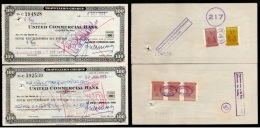 India United Commercial Bank Rs. 100 Travellers Cheque Singapore Revenue X2 # 6258B - Banque & Assurance