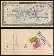 India United Commercial Bank Rs.100 Travellers Cheque Singapore Revenue # 6255A - Bank En Verzekering
