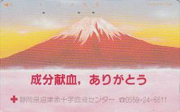 Télécarte Japon / 110-127 - CROIX ROUGE / Volcan MONT FUJI - RED CROSS Vulcan Japan Phonecard - ROTES KREUZ -  MD CR 264 - Volcans