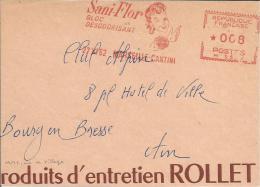 Lettre  EMA 1962 Sani Flor Bloc Desodorisant Marseille 13 Rollet Hygiene Femme Themes Sante  L25/51 - Marcophilie (Lettres)