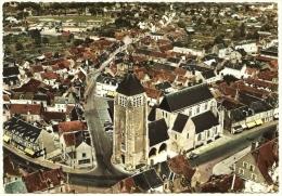CPSM Photo N&B Colorisée 45110 CHATEAUNEUF Sur LOIRE 45 Loiret L'Eglise St Martial Vue Générale Aérienne En Avion 1960 - Frankreich