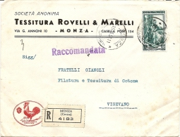 N-RACCOMANDATA AFFRANCATA 65 LIRE ITALIA AL LAVORO 1951 - Storia Postale