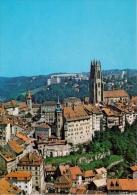 CPSM Photo Couleur FRIBOURG 1700 Cathédrale Grand Rue Suisse Switzerland Vue Aérienne En Avion Perrochet 6916 - FR Fribourg