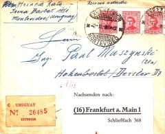 Uruguay 1950, 3 Fach Frankierung Auf R-Brief, Sonderstempel Exp.Exterior - Montevideo - Nachsendung Nach Frankfurt - Uruguay