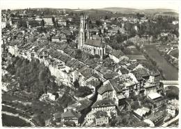CPSM Photo N&B En Avion Au-dessus De FRIBOURG 1700 Cathédrale Grand Rue Suisse Switzerland Vue Aérienne Perrochet 1964 - FR Freiburg