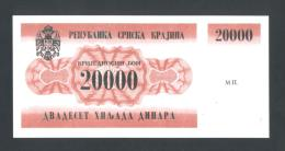 KROATIEN - CROATIA - KRAJINA,  20,000 Dinara 1991 UNC *P-RA2  , POSSIBLE FAKE? - Kroatien