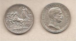 """Italia - Moneta Circolata Da 2 Lire """"Quadriga Briosa - 1916 * S - 1900-1946 : Vittorio Emanuele III & Umberto II"""