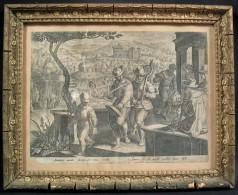 Intéressante Gravure De Jan Van Der Straet : La Chasse Aux Grives / époque XVIè Siècle - Gravuren
