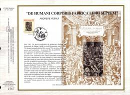 FDC Soie Gd  Format COB N° 2527 -  André VESALE: Traité D'ANATOMIE - Oblitération: BRUXELLES - 2/10/93. - FDC