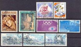Mut121 SMALL ASSORTMENT ART SPORTS SKIING OLYMPIC GAMES SHIPS HORSES MALI 1974 Gebr/used  VANAF1EURO - Mali (1959-...)