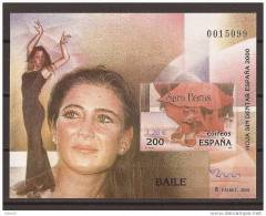 ES3763-LA008TAO.Spain Espagne EXPO 2000 HOJA SIN DENTAR BAILE  Flamenco.SARA BARAS-..LUJO - Arte