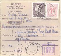 _3AP989:N°1071+1484:VERVI ERS F2F : Lnn: VERVIERS 2 : > EUPEN H1H : Uitbetaald: B KELMIS-LA-CALMINE B - Lettres & Documents