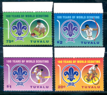 """TUVALU - 2007  """"A CENTURY SCOUT""""-   SERIE De 4 V. + 1 HOJITA BLOQUE De 1 V.  DENTADAS - Movimiento Scout"""